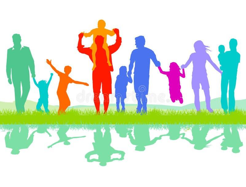Pais com crianças ilustração do vetor