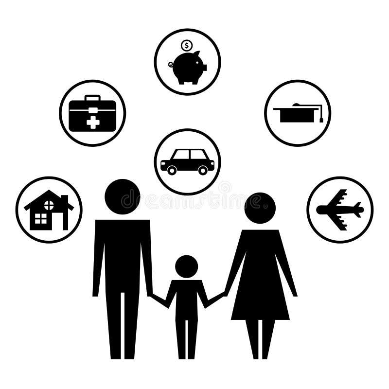 Pais com a silhueta dos ?cones do filho e do grupo ilustração stock