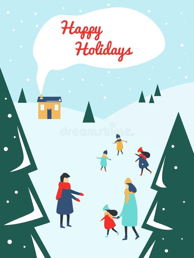 Pais e crianças que jogam fora com neve na estância de esqui ilustração royalty free