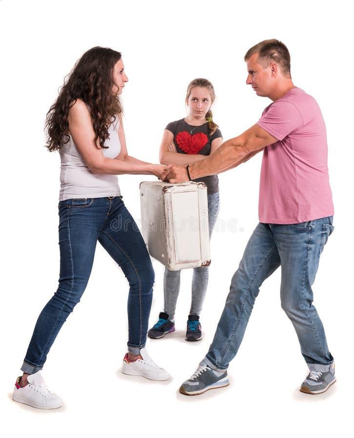 Pais e filha de combate fotografia de stock