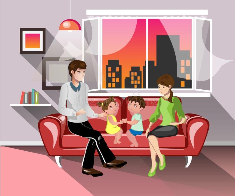 Pais e suas crianças na sala de visitas ilustração stock