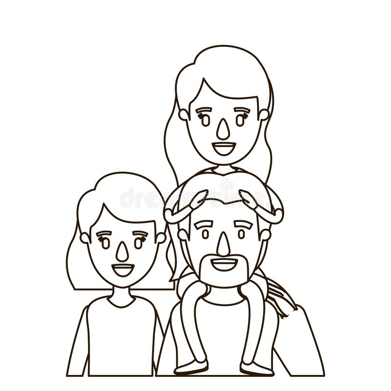 Pais grandes da família do corpo da metade da caricatura do contorno do esboço com a menina no seu para trás ilustração royalty free