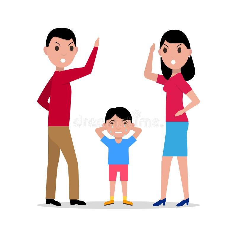 Pais irritados dos desenhos animados do vetor que juram a criança ilustração royalty free