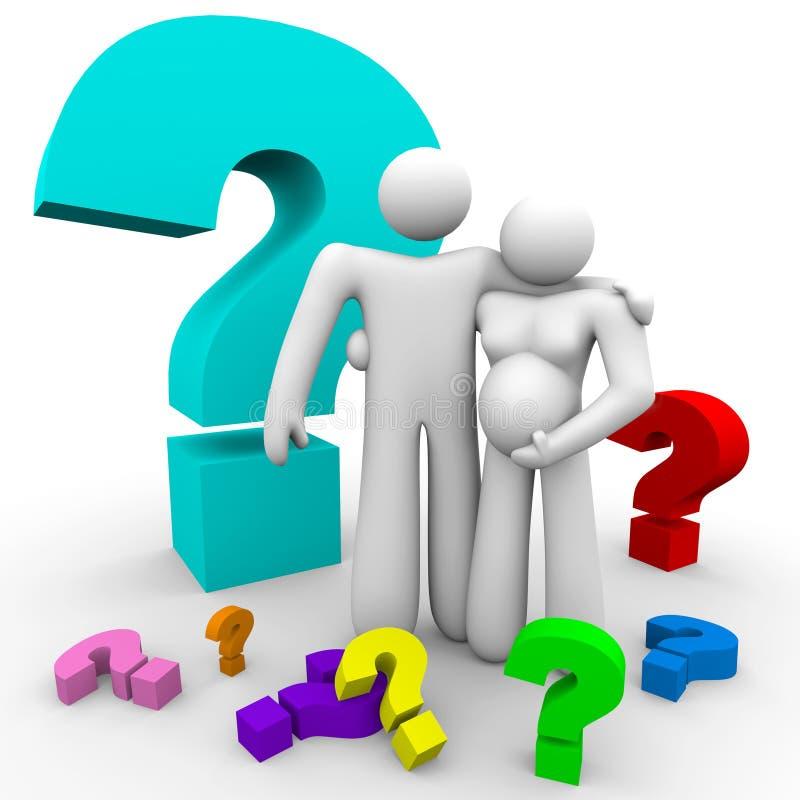 Pais novos com muitas perguntas sobre a gravidez ilustração stock