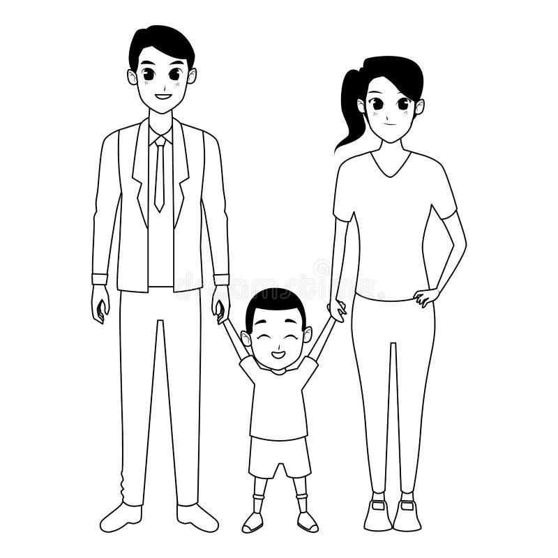 Pais novos da família com a criança em preto e branco ilustração do vetor