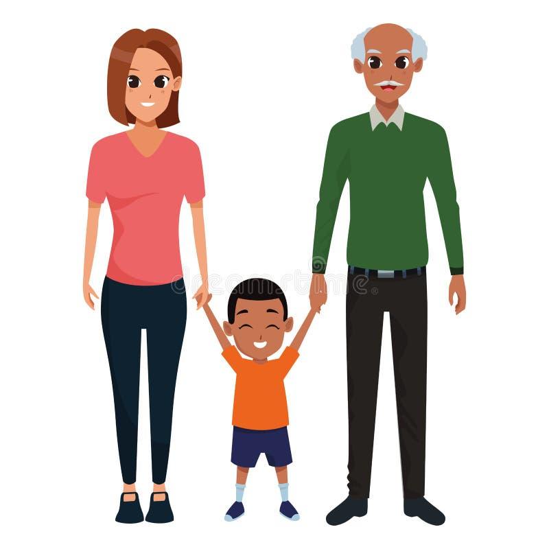 Pais novos da família com criança ilustração royalty free