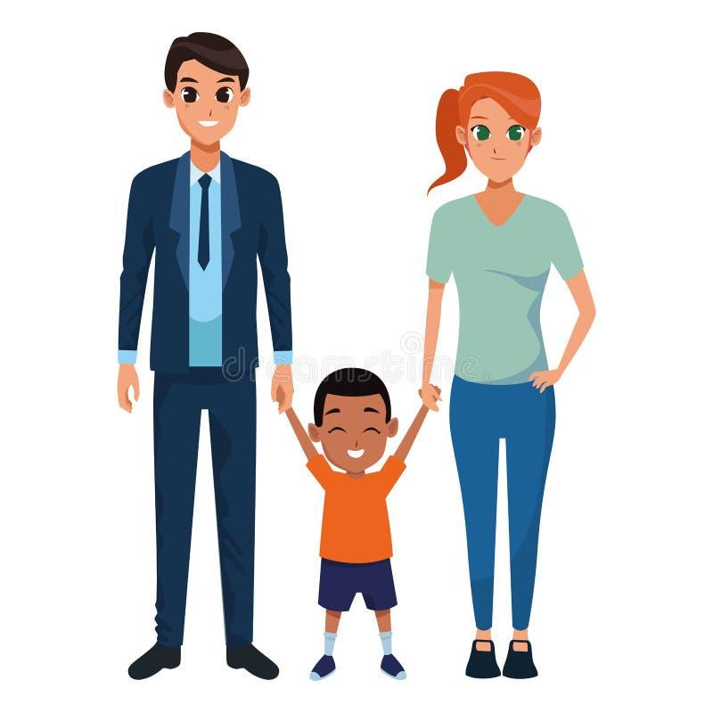 Pais novos da família com criança ilustração do vetor