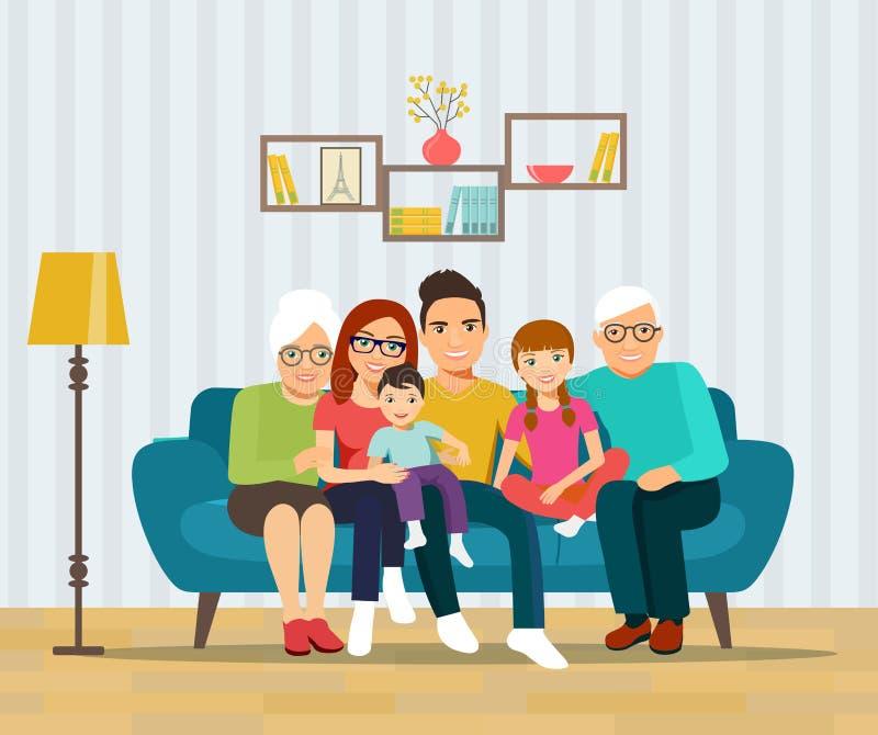 Pais novos de sorriso, avós e suas crianças no sofá na sala de visitas ilustração do vetor