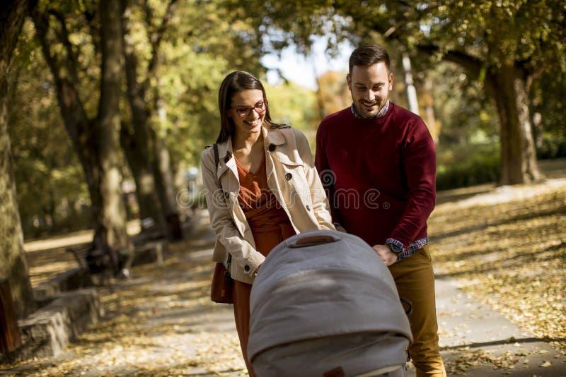 Pais novos felizes que andam no parque e que conduzem um bebê nos vagabundos imagem de stock