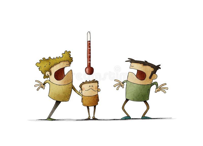 Pais preocupados olham para o termômetro da criança doente Conceito de febre isolado fotografia de stock royalty free