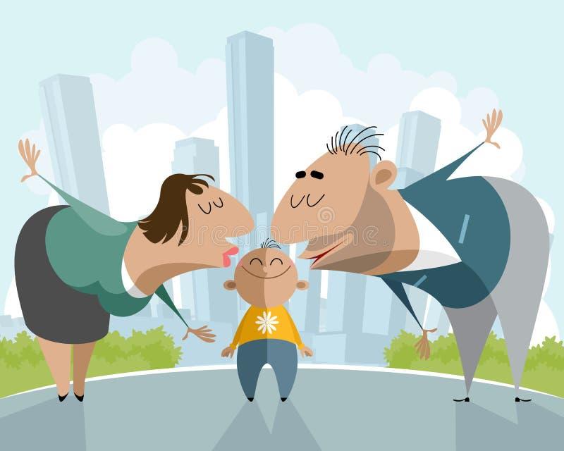 Pais que beijam uma criança ilustração do vetor