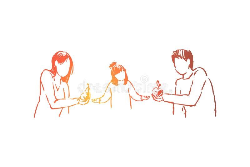 Pais que d?o a filha frutos deliciosos, alimento org?nico do vegetariano, pera da terra arrendada da m?e, pai com ma ilustração stock