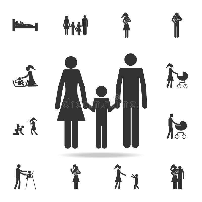 pais que guardam um ícone da criança \ 'da mão de s Grupo detalhado de ícones da família Projeto gráfico superior Um dos ícones d ilustração do vetor