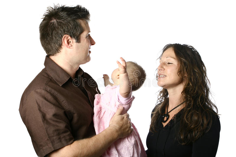 Pais que tentam consolar um bebê agitado fotos de stock royalty free