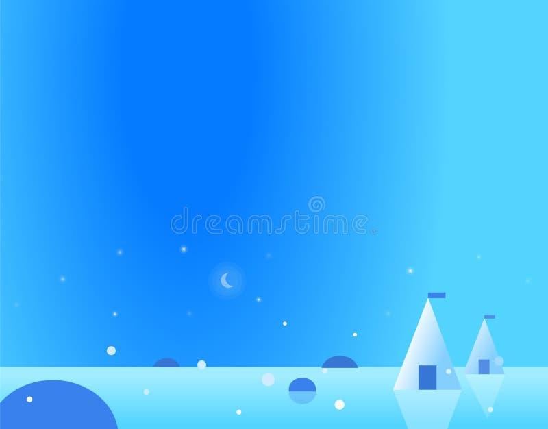 Paisagem ártica do papel de parede com Yurt e lua ilustração do vetor