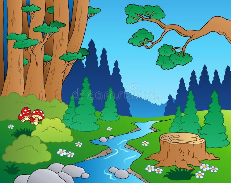 Paisagem 1 da floresta dos desenhos animados ilustração do vetor
