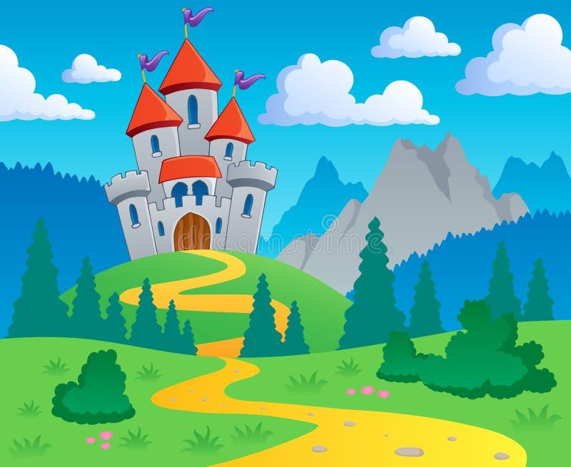 Paisagem 1 do tema do castelo ilustração royalty free