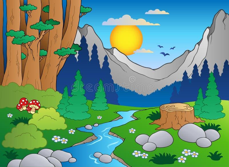 Paisagem 2 da floresta dos desenhos animados ilustração stock