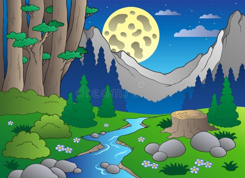 Paisagem 3 da floresta dos desenhos animados ilustração royalty free