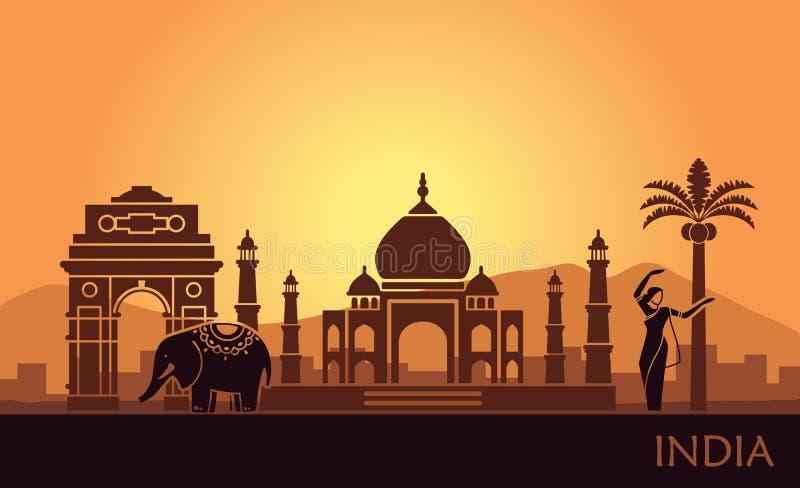 Paisagem abstrata com as vistas da Índia e de uma mulher de dança ilustração royalty free