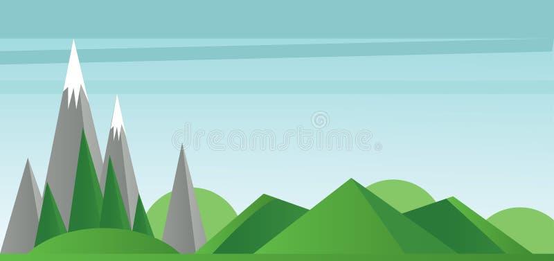 A paisagem abstrata com campos verdes, árvores prateia montanhas com neve na parte superior ilustração do vetor