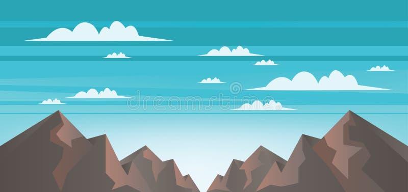 Paisagem abstrata com montanhas marrons, as nuvens brancas e os céus azuis ilustração do vetor