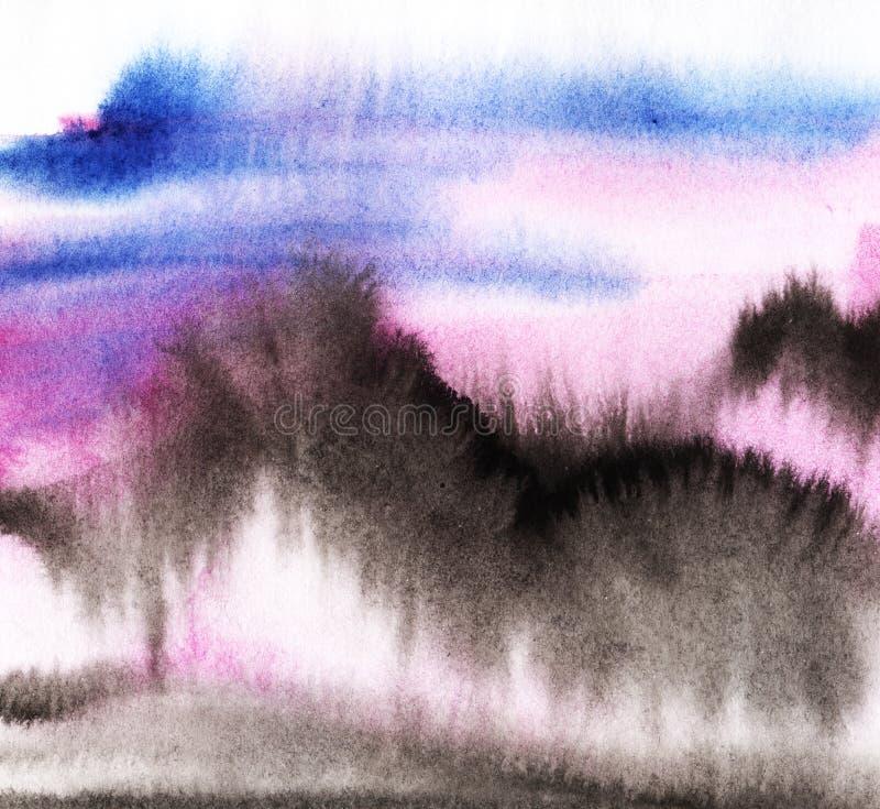 Paisagem abstrata da montagem em um por do sol ou em um nascer do sol Linhas pretas ilustração stock