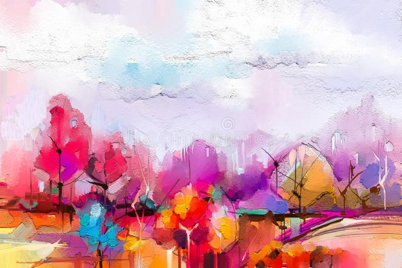 Paisagem abstrata da pintura a ?leo C?u roxo azul colorido Pintura a ?leo exterior na lona ilustração royalty free