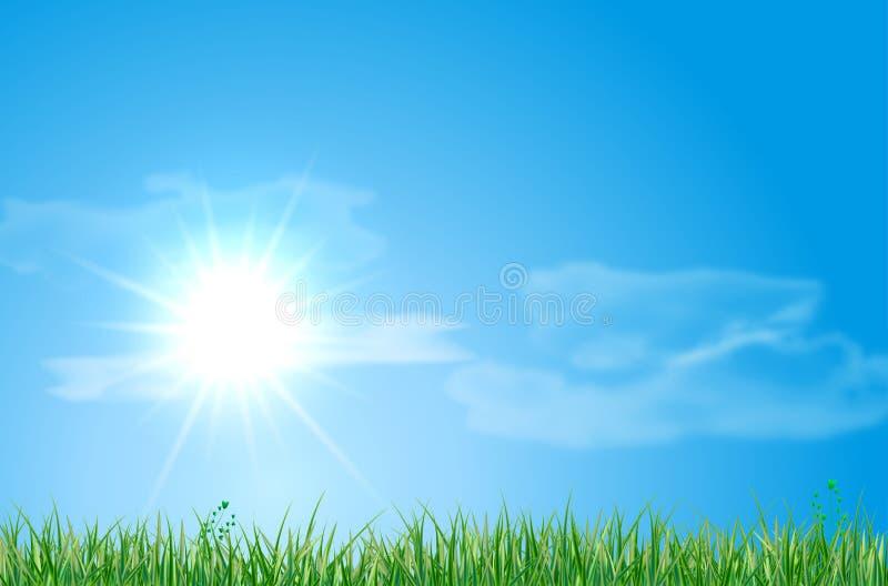 Paisagem abstrata do verão com prado, céu, sol e nuvens ilustração royalty free