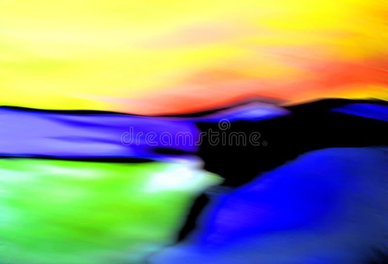 Paisagem abstrata/praia, montes, céu + oceano ilustração do vetor