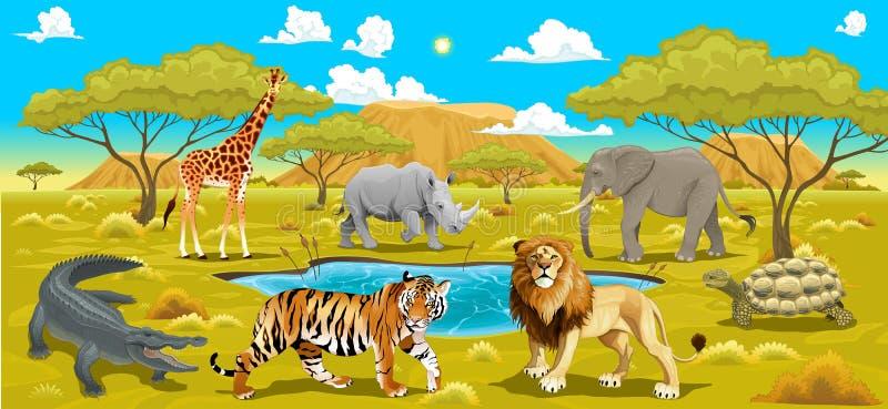 Paisagem africana com animais ilustração do vetor