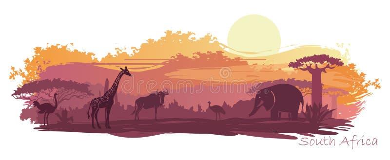 Paisagem africana com animais selvagens ilustração royalty free