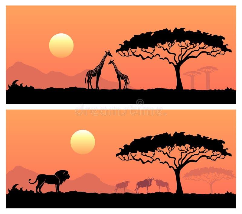 Paisagem africana com animais selvagens ilustração do vetor