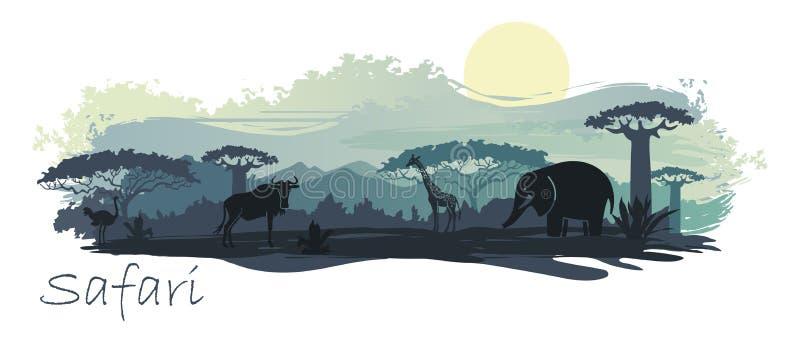 Paisagem africana com animais selvagens Ilustração do vetor ilustração royalty free