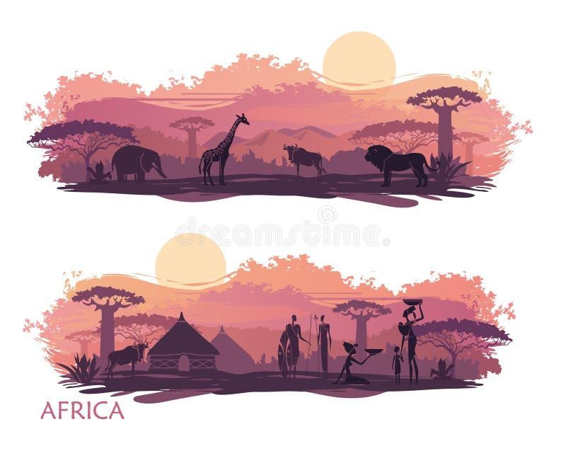 Paisagem africana com povos e animais ilustração do vetor
