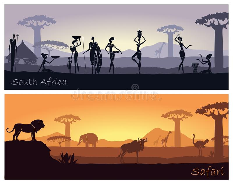 Paisagem africana com povos e animais ilustração royalty free