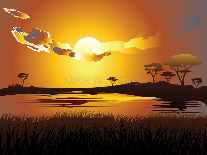 Paisagem africana do por do sol ilustração royalty free