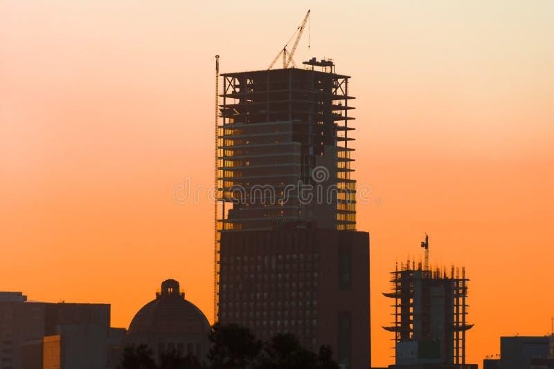 Paisagem alaranjada do por do sol do nascer do sol de Cidade do México fotos de stock royalty free