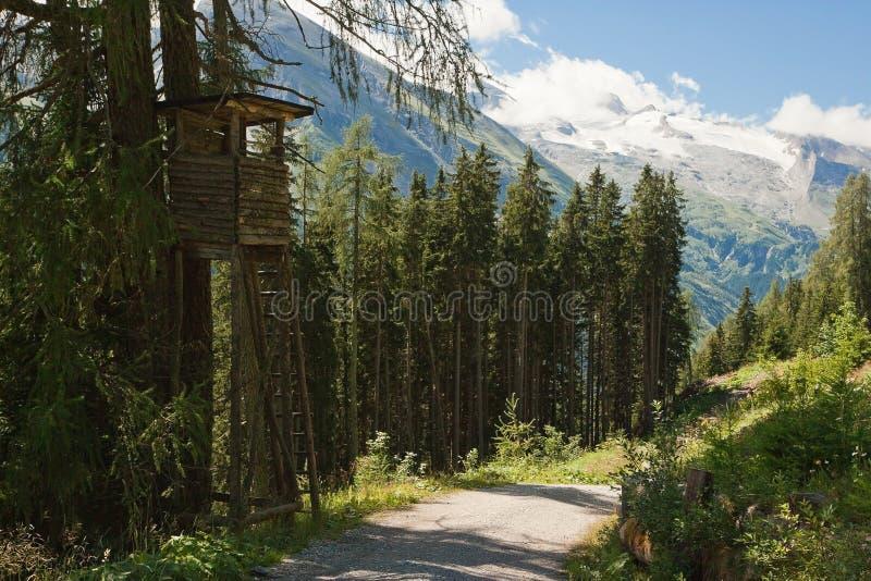 Paisagem alpina com torre de vigia imagem de stock royalty free