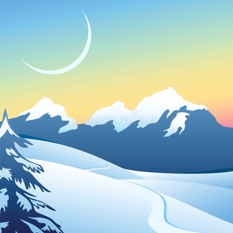 Paisagem alpina do inverno ilustração royalty free