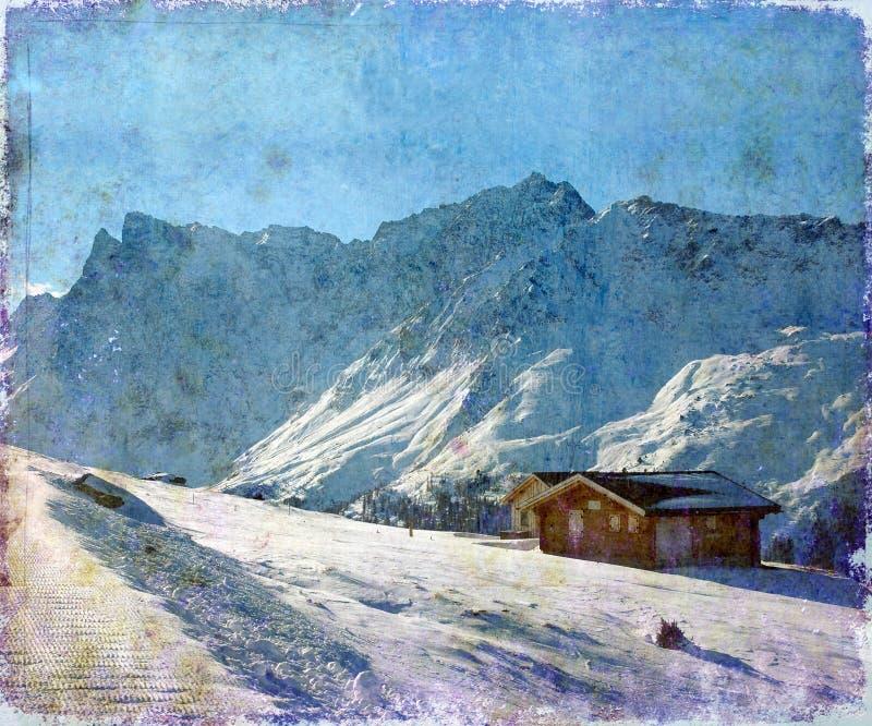Paisagem alpina do inverno imagem de stock
