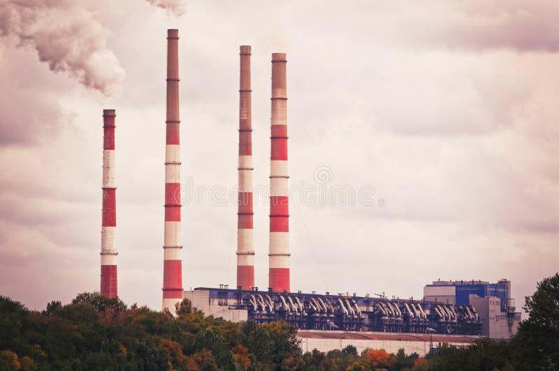 Paisagem antropogênica - central elétrica do distrito do estado Região de Rostov, Novocherkassk, Rússia imagens de stock