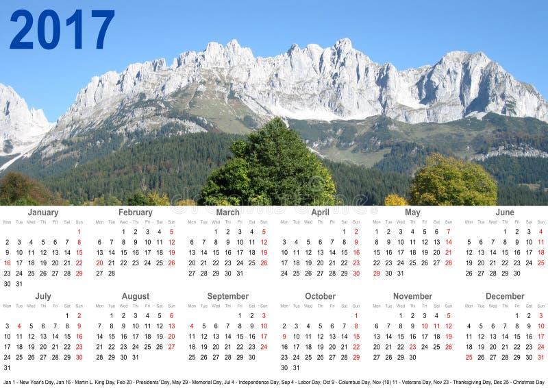 Paisagem 2017 anual da montanha do calendário EUA imagem de stock royalty free