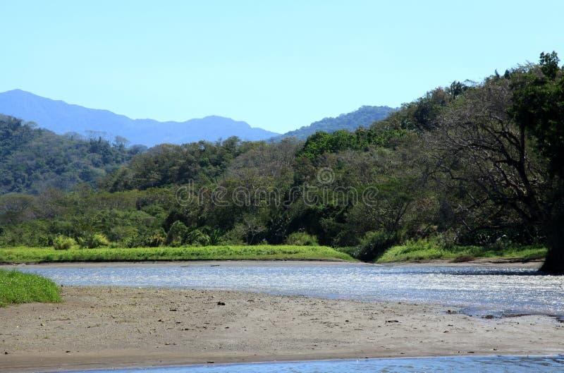 Paisagem ao longo do rio de Tarcoles fotos de stock royalty free