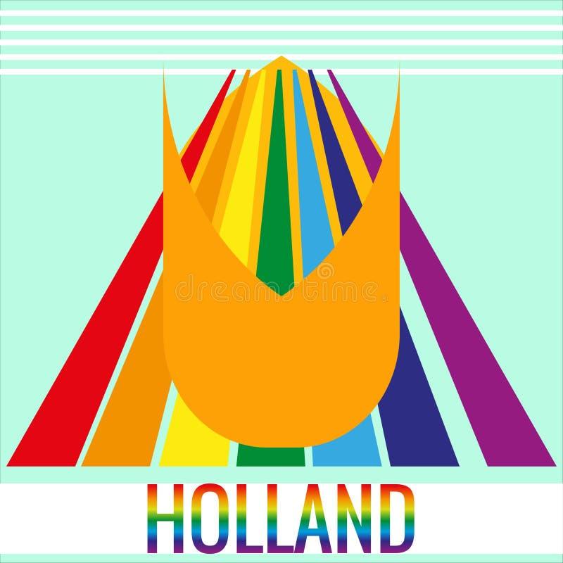 Paisagem artística para a bandeira Campos com flores coloridas, tulipa, arco-íris Ilustração do vetor para o projeto de ilustração stock