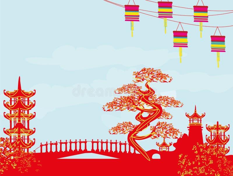 Paisagem asiática abstrata ilustração royalty free
