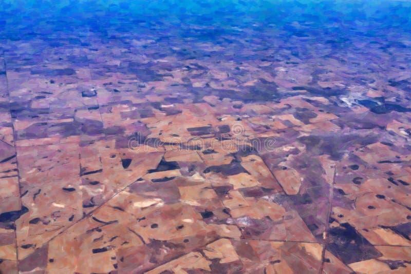 Paisagem australiana ocidental do sumário, estilo da pintura a óleo imagem de stock