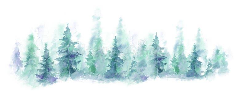 Paisagem azul da floresta nevoenta, monte do inverno Natureza selvagem, congelado, enevoada, taiga Fundo da aguarela ilustração do vetor