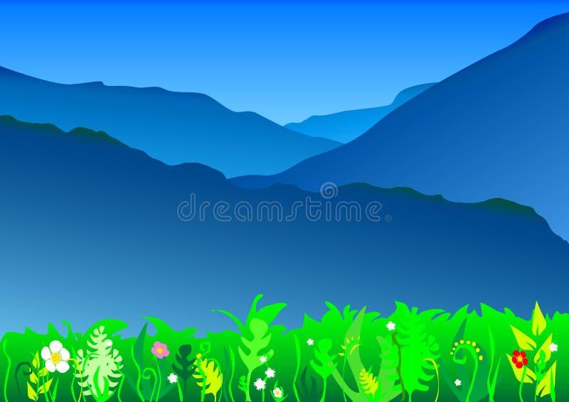 Paisagem azul das montanhas ilustração stock