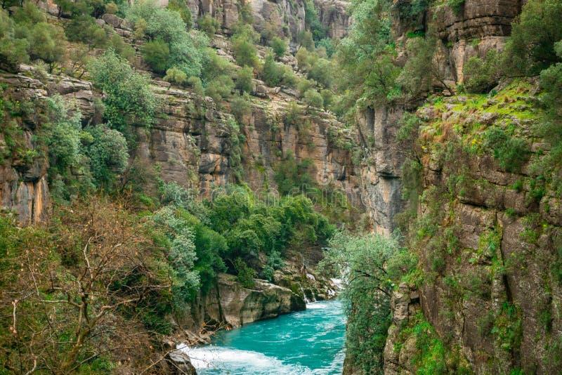 Paisagem azul do rio da garganta de Koprulu em Manavgat, Antalya, Turquia imagens de stock royalty free